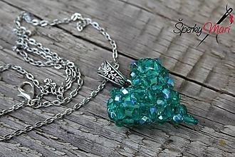 Náhrdelníky - prívesok srdiečko (srdiečko smaragdovo zelené) - 9754630_
