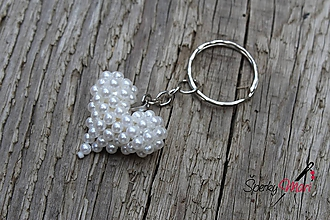 Náhrdelníky - prívesok srdiečko (srdiečko biele perličky) - 9754649_