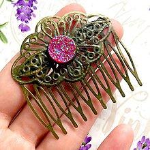 Ozdoby do vlasov - Sparkling Pink Vintage Hair Comb / Hrebienok do vlasov s drúzovým kabošonom /0119 - 9756907_