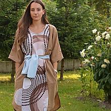 Šaty - LETOKRUHY - ľanové originálne šaty s aplikáciou v prírodných tónoch. - 9756662_