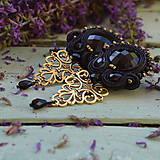 Náušnice - Black Soutache Filigree - sutaškové náušnice - 9754505_