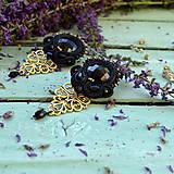Náušnice - Black Soutache Filigree - sutaškové náušnice - 9754507_