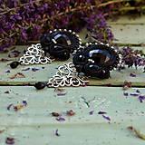 Náušnice - Black Soutache Filigree n.2 - sutaškové náušnice - 9754519_