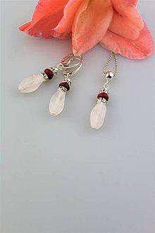 Sady šperkov - ruženín,koral náušnice a prívesok v striebre Ag925/1000 - 9756431_