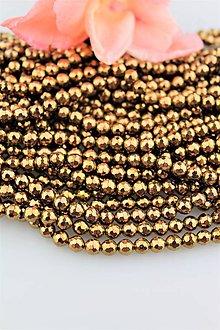 Minerály - hematitové korálky 6mm - bronzový fazetovaný hematit - 9756807_