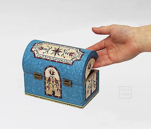Ručne maľovaná miniatúrna truhlica Pennsylvania Dutch - modrá