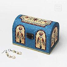 Nábytok - Ručne maľovaná miniatúrna truhlica Pennsylvania Dutch - modrá - 9756236_
