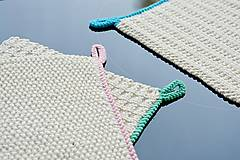 Úžitkový textil - Pletené chňapky - letné trio (Modrá) - 9756955_
