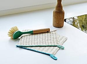 Úžitkový textil - Pletené chňapky - letné trio (Modrá) - 9756949_