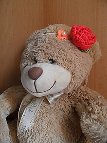 Ozdoby do vlasov - čelenka s červenou ružičkou - 9756748_