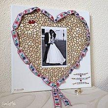 Rámiky - Srdiečkové srdce orámované folk stužkou (biela stužka) - 9753860_