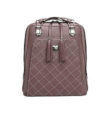 Batohy - Kožený ruksak z pravej hovädzej kože v tmavej fialovo-hnedej farbe - 9756304_