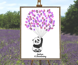 Grafika - Lietajúci medvedík Panda - 9757075_