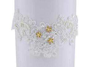 Bielizeň/Plavky - Svadobný podväzok ivory s čipky vyšívanej perličkami a flitrami A1 - 9755629_