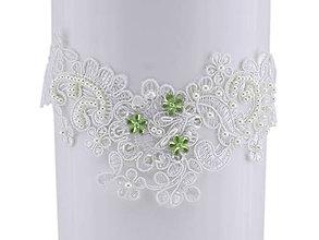 Bielizeň/Plavky - Svadobný podväzok ivory s čipky vyšívanej perličkami a flitrami A2 - 9755645_