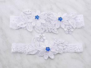 Bielizeň/Plavky - Svadobný podväzok bielý s čipky vyšívaný - sada 111 (Tyrkysová) - 9756448_