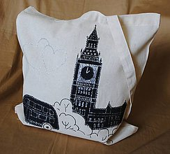 Nákupné tašky - Nákupná taška ľanová s riflovinou -London - 9754606_