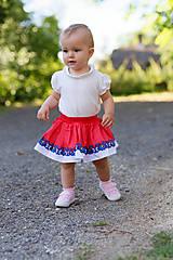 Detské oblečenie - Detská pružná sukňa červená s bordúrou - 9757085_