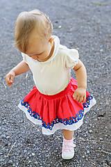 Detské oblečenie - Detská pružná sukňa červená s bordúrou - 9757087_