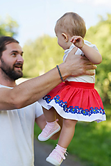 Detská pružná sukňa červená s bordúrou