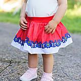 Detské oblečenie - Detská pružná sukňa červená s bordúrou - 9757090_
