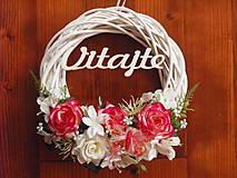 - Veniec s ružičkami a motýlikom 27cm s nápisom - 9754286_