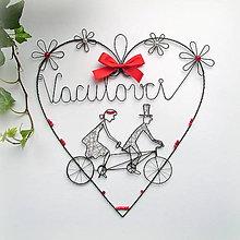 Dekorácie - veľke srdce pre mladomanželov (Červená) - 9759412_