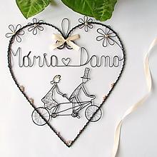 Dekorácie - veľke srdce pre mladomanželov (Krémová) - 9759427_