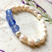 Náramky - Elastic Freshwater Pearls & Blue Jade Bracelet / Elastický náramok sladkovodné perly a modrý jadeit AG925 /0118 - 9757901_