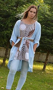 Šaty - TAMARA - modré ľanové originálne šaty alebo tunika. - 9757503_