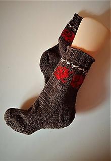 Obuv - Folklórne ponožky 100 % vlna - vôňa ruže - 9759277_