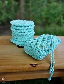 Úžitkový textil - Háčkované vrecúško na mydlo  (Tyrkysová) - 9758876_