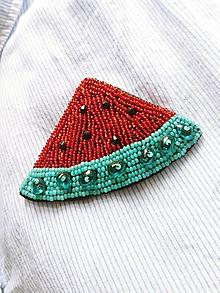 Odznaky/Brošne - Ručne šitá/vyšívaná brošňa Melón - 9758623_