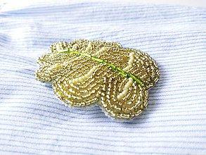 Odznaky/Brošne - Ručne šitá/vyšívaná brošňa List - 9758664_