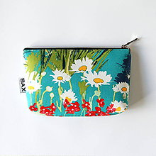 Taštičky - Mimi - Tyrkysová s kvetmi - 9758695_