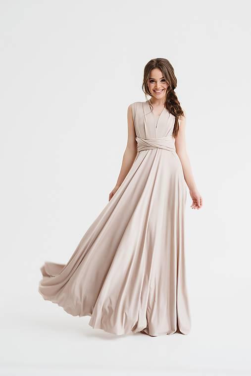 Maxi šaty TRANSFORMERS, pudrové