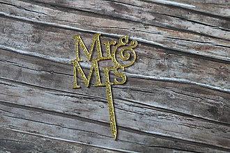 Iný materiál - Zapichovačka Mr & Mrs zlatá - 9758925_