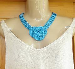 Náhrdelníky - Uzlový náhrdelník hrubý (tyrkysový č. 2223) - 9758123_