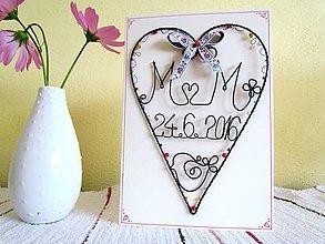 Papiernictvo - svadobná pohľadnica (Biela) - 9757231_