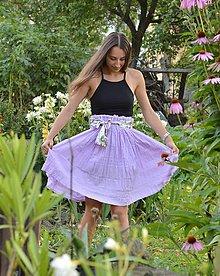 Sukne - LILA- ľahučká bavlnená sukňa s opaskom. - 9760780_