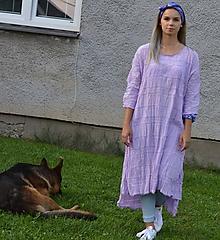 Šaty - ROZUMIEM JEHO OMÁMENIU -fialové oversized bavlnené originálne šaty. - 9761384_