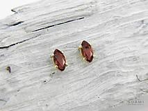 Náušnice - 585/14k zlaté napichovacie s prírodným granátom - 9760887_
