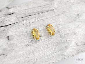 Náušnice - 585/14k zlaté náušnice s prírodným citrínom - 9760938_