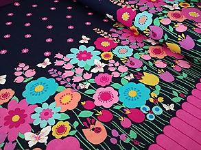 Textil - Bavlnená látka Flutterby Floral Border - bordúra - 9761343_