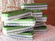 Košíky - KOŠÍKY - Biele so zelenobodkovanou košieľkou - 9760146_
