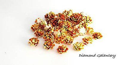 Komponenty - Ozdobný kvietok 12 mm - melírový hnedo oranžový - 9762216_