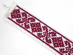 Náramky - Vyšívaný náramok (Bordový) - 9760962_