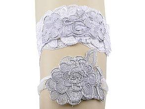 Bielizeň/Plavky - Sada svadobný podväzok bielý s čipky vyšívaný ERT2 - 9761178_