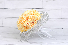 Saténová kytica svadobná krémová ruže