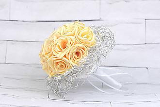 Kytice pre nevestu - Saténová kytica svadobná krémová ruže - 9761880_
